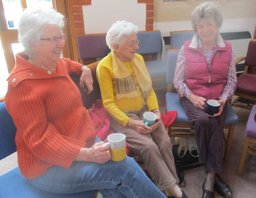 Congregation members enjoying coffee together